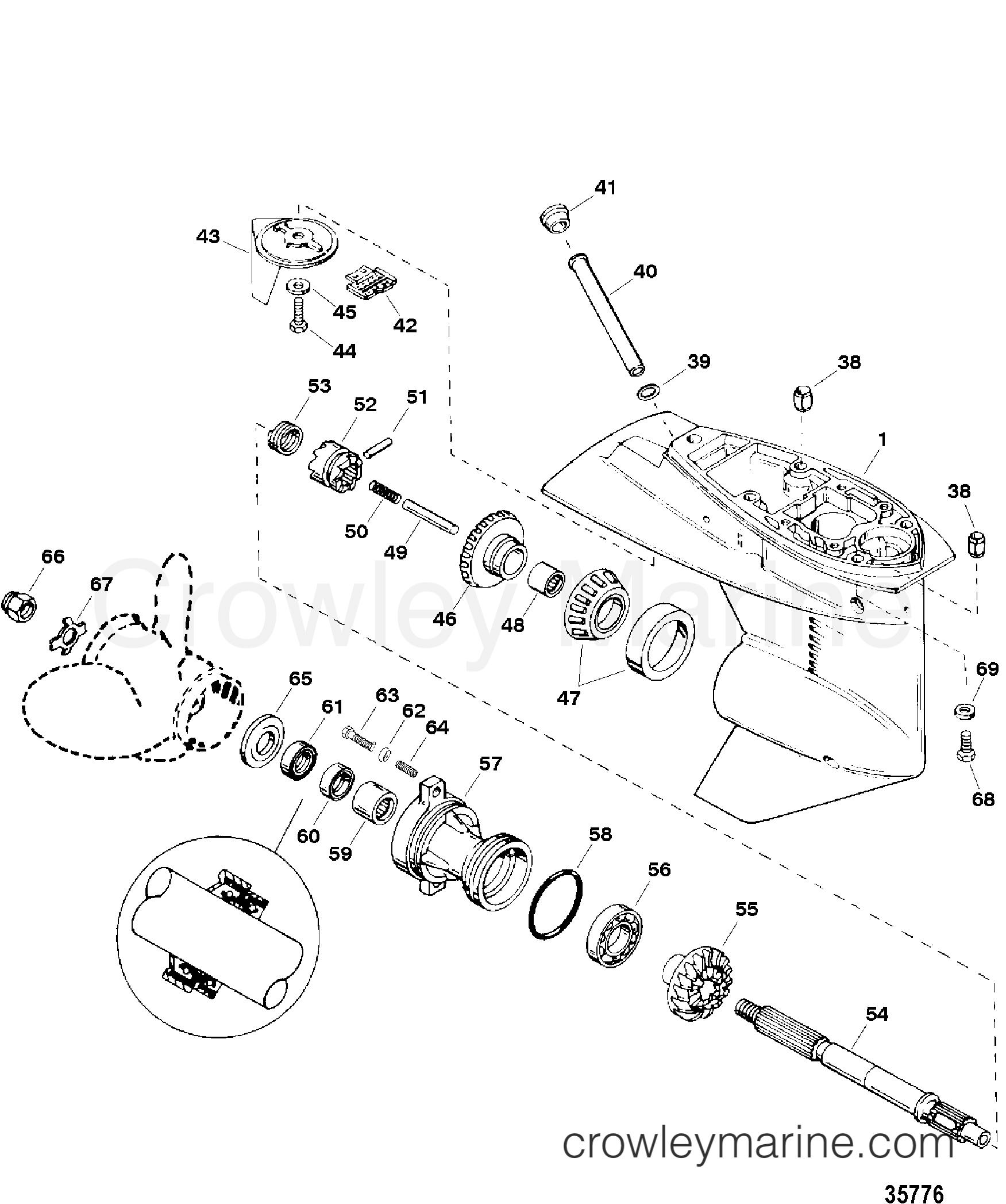 gear housing assembly  propeller shaft