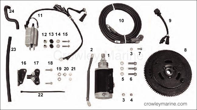 Mariner Electric Start Conversion Kit Inc Starter Motor 15hp