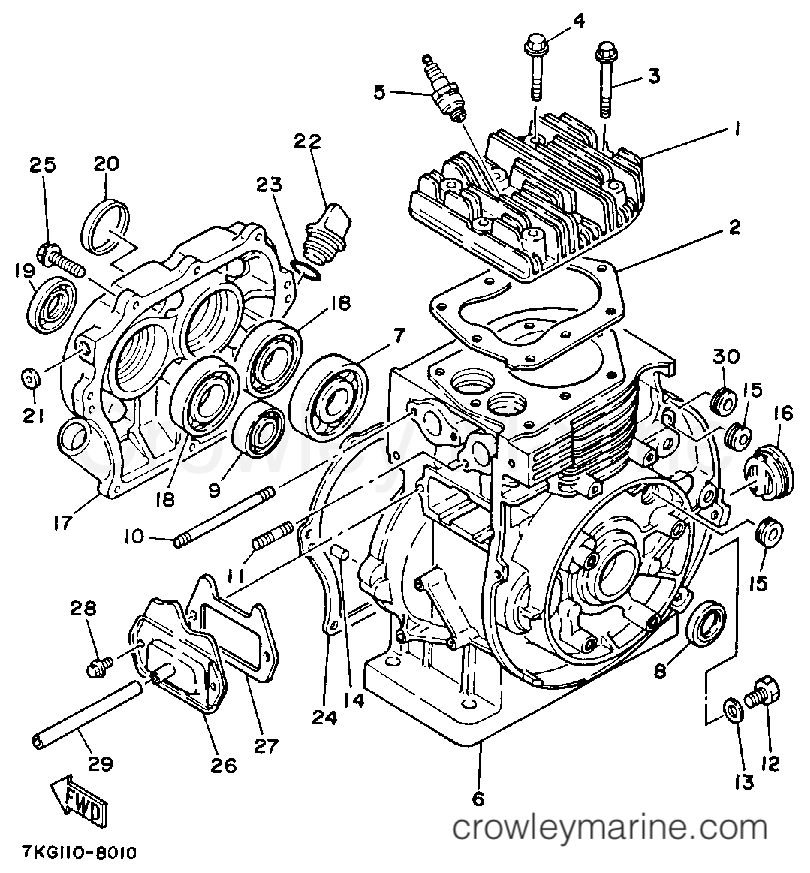 1988 Yamaha Outdoor Equipment 828 - YS828WM - CYLINDER - CRANKCASE