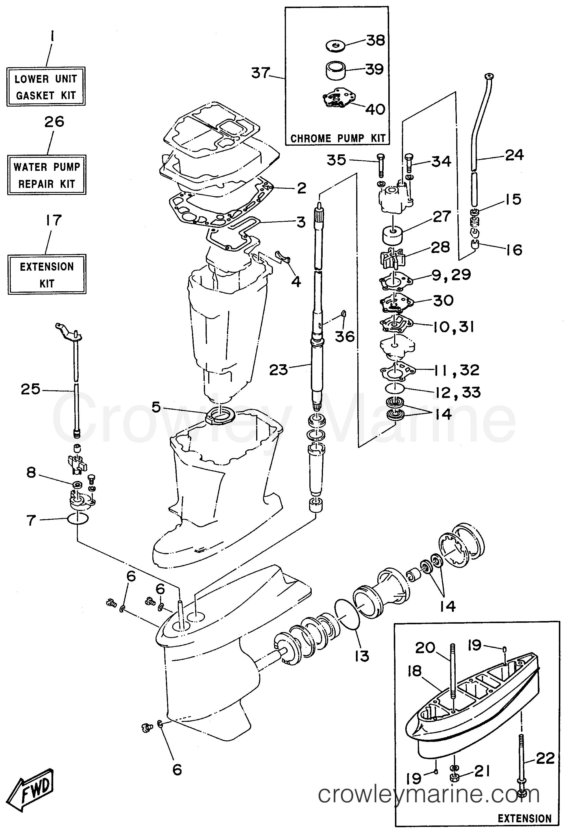 repair kit 2 1996 yamaha outboard 75hp c75tlru crowley marine. Black Bedroom Furniture Sets. Home Design Ideas