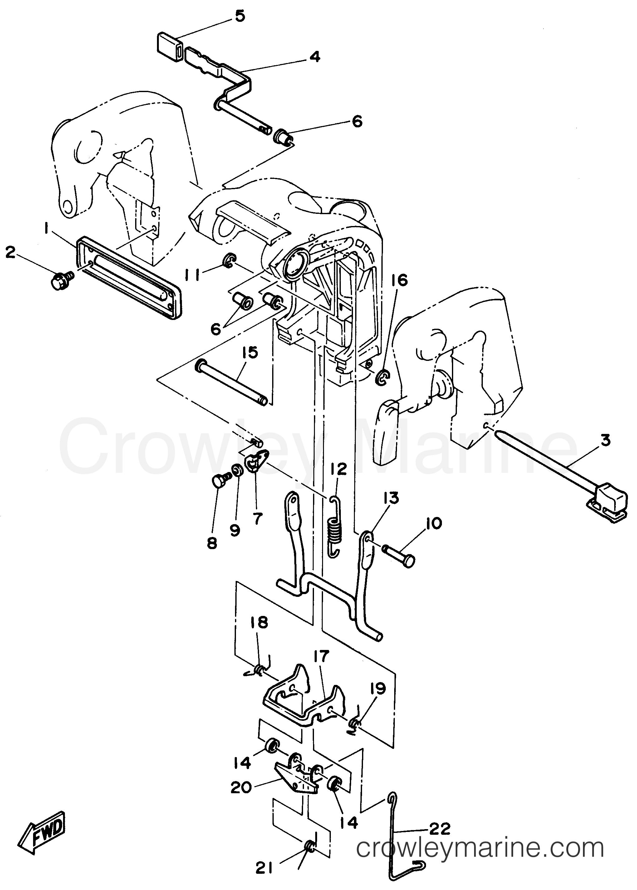 BRACKET 2 - 1996 Yamaha Outboard 20hp 20MLHU | Crowley Marine
