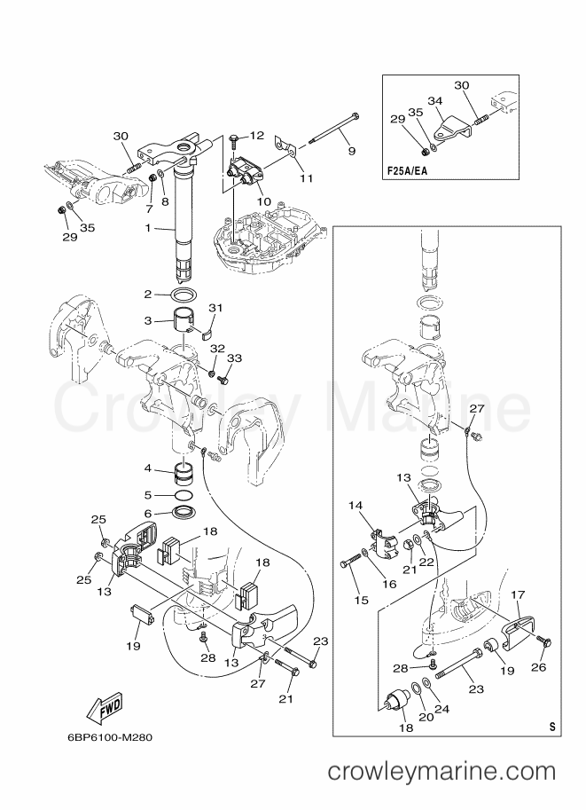2013 Yamaha International 25hp - F25LEA-2013 (6BP6) [520] - BRACKET 3 section