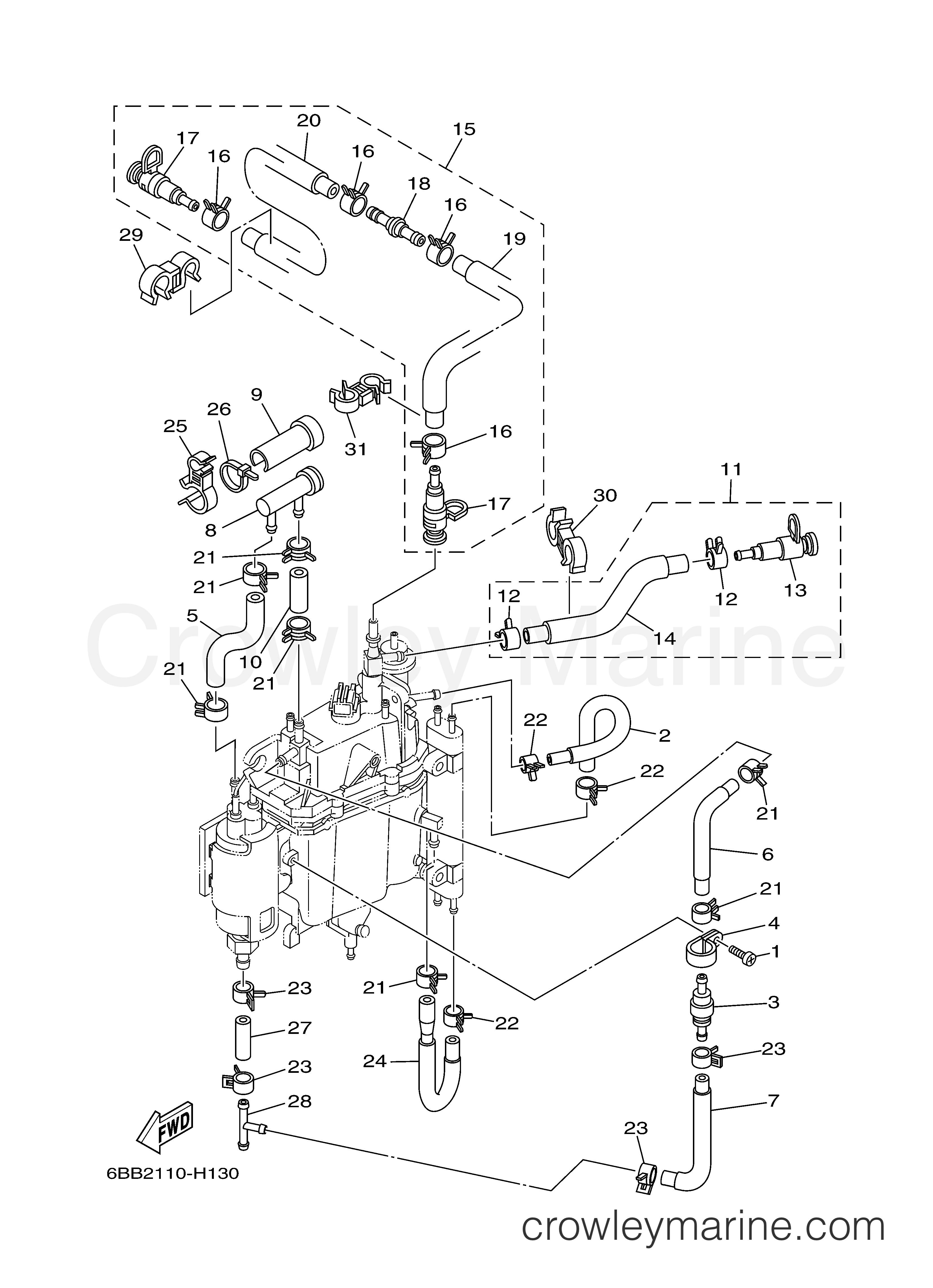 FUEL INJECTION PUMP 2 - 2008 Yamaha Outboard 250hp LF250TXR