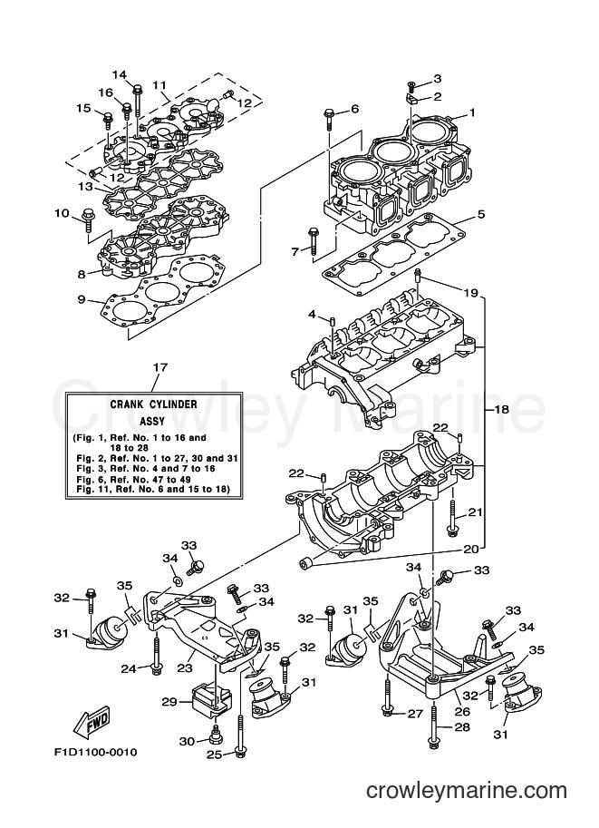 2001 WaveRunner SV1200A-Z - SV1200A-Z (F1D4) [010] - CYLINDER & CRANKCASE