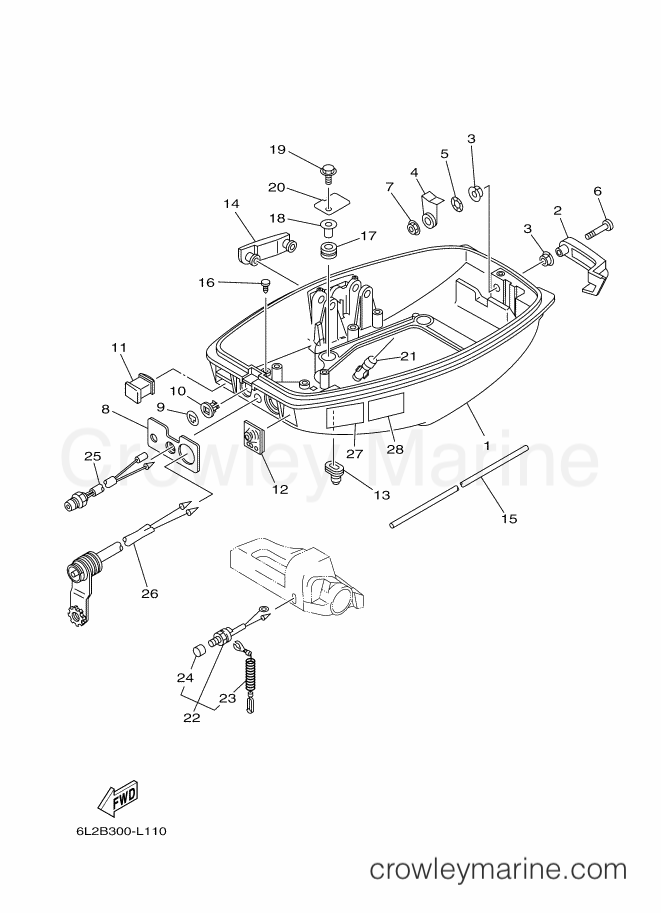 2013 Yamaha International 25hp - 25NMHOS (6L2D) [140] - BOTTOM COWLING section