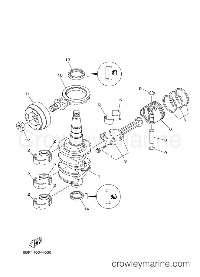 2013 Yamaha International 25hp - F25LEA-2013 (6BP6) [520] - CRANKSHAFT & PISTON section