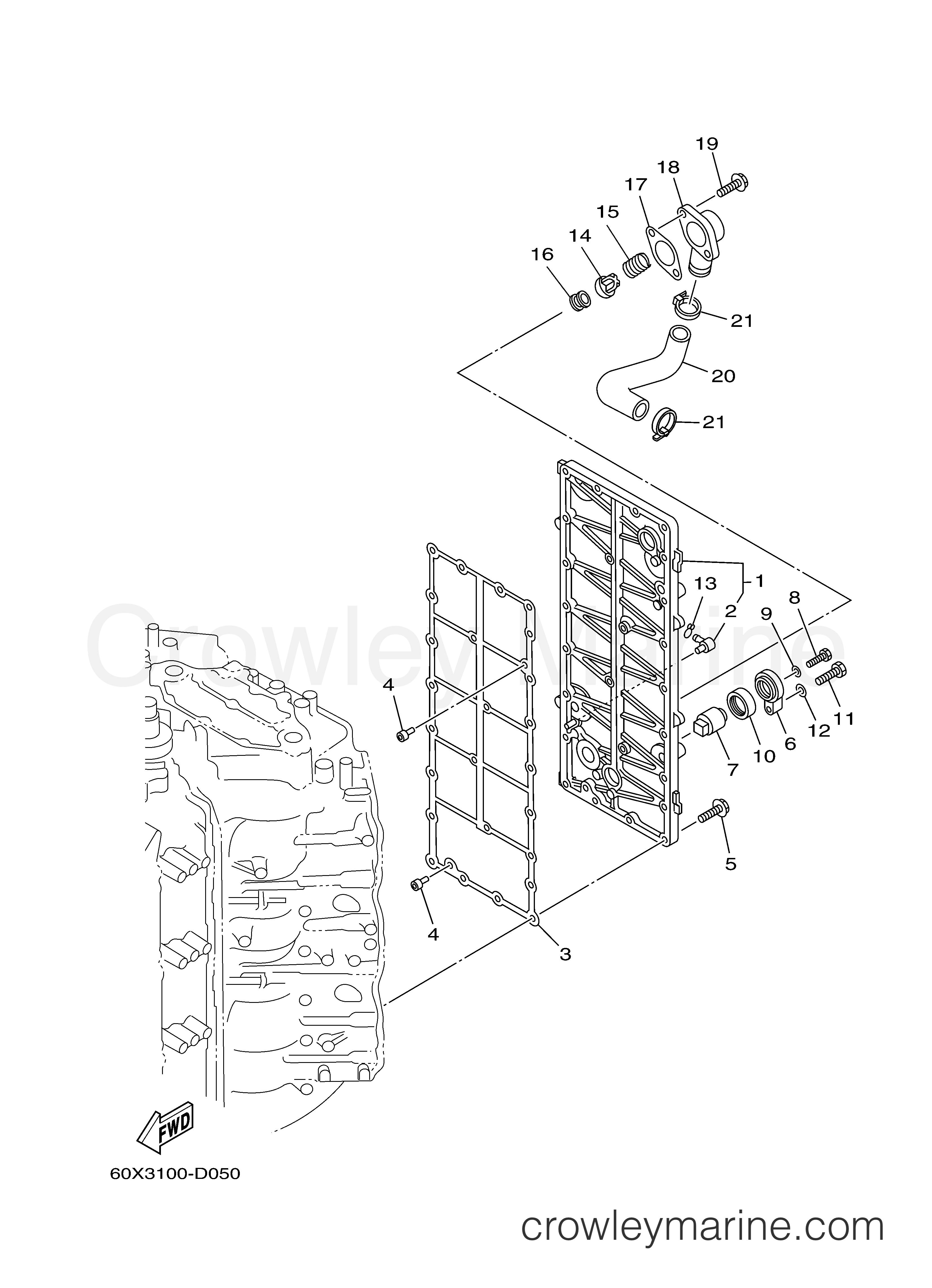 cylinder crankcase 3 2005 yamaha outboard 250hp z250txrd. Black Bedroom Furniture Sets. Home Design Ideas