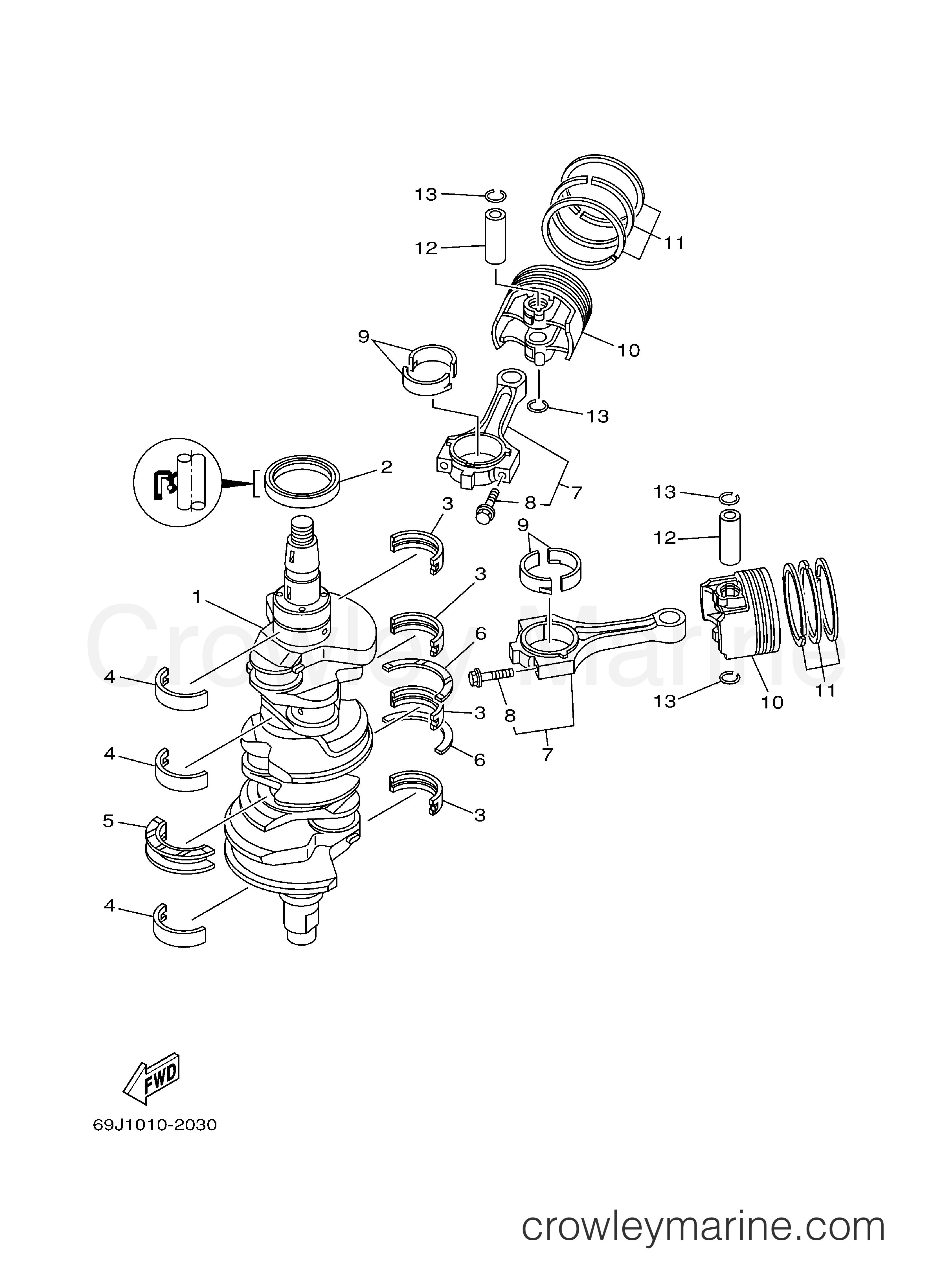 Yamaha 69J-11656-10-00 PLANE BEARING  CONNE