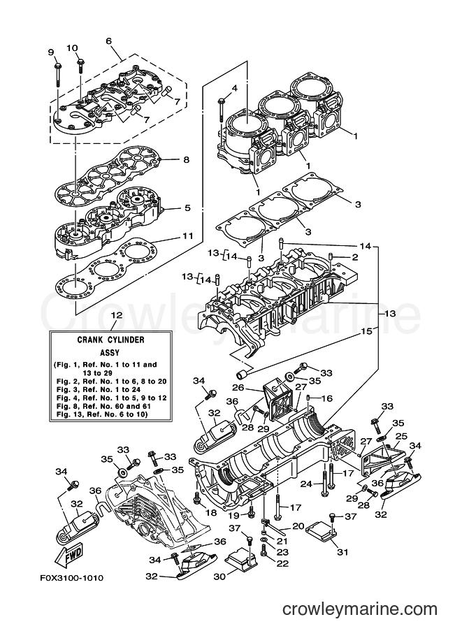 2001 WaveRunner GP1200A-Z - GP1200A-Z (F0X3) [02A] - CYLINDER & CRANKCASE 1