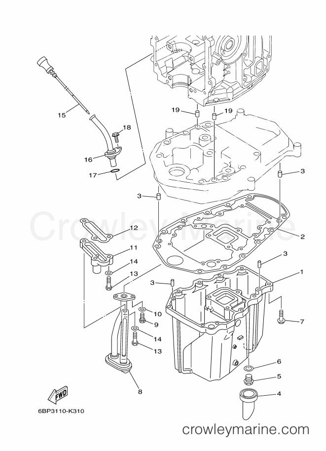 2013 Yamaha International 25hp - F25LEA-2013 (6BP6) [520] - OIL PAN section