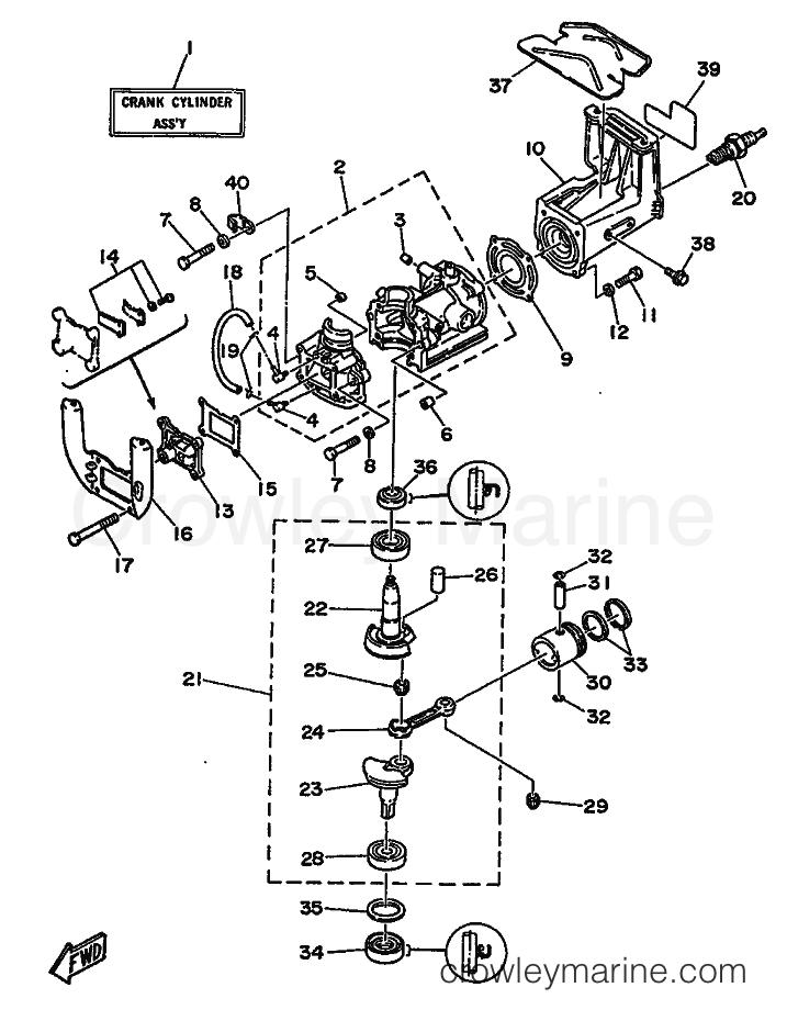 1986 Yamaha International 2hp - 2B (6A1) [999] - CYLINDER & CRANKCASE