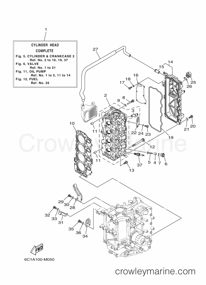 2013 Yamaha International 60hp - T60LB-2013 (6C6A) [280] - CYLINDER & CRANKCASE 2 section