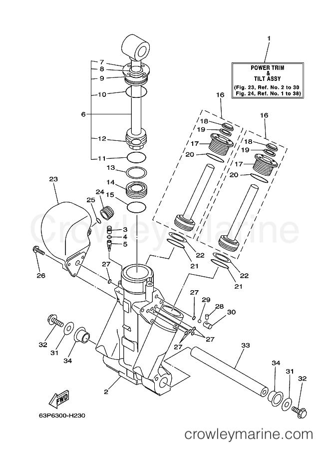2009 Yamaha International 150hp - FL150AETX (64P6) [040] POWER TRIM & TILT ASSY 1 section