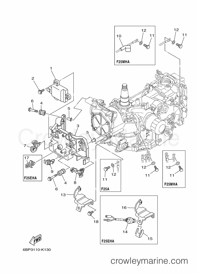 2013 Yamaha International 25hp - F25LEA-2013 (6BP6) [520] - ELECTRICAL 1 section