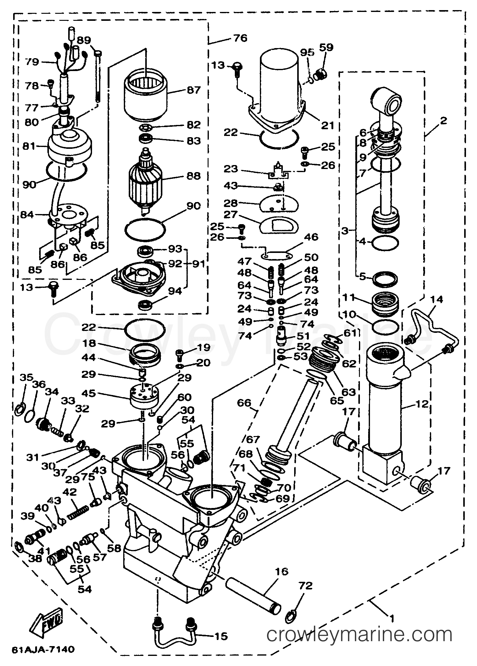 POWER TRIM TILT ASSEMBLY 1 - 1998 Yamaha Outboard 225hp ...