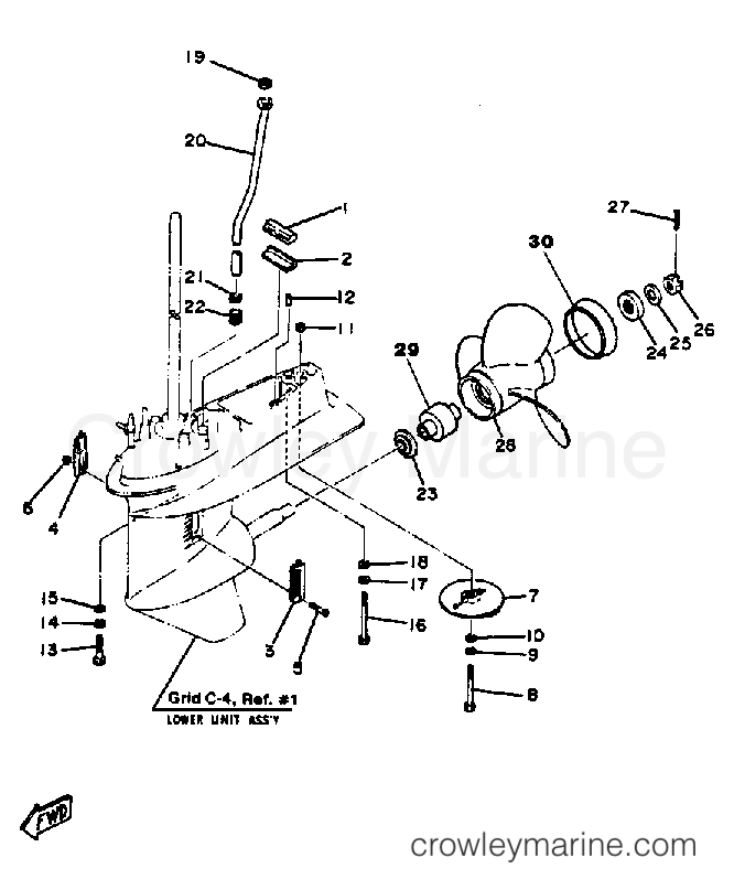 50 hp mercury prop assembly diagram