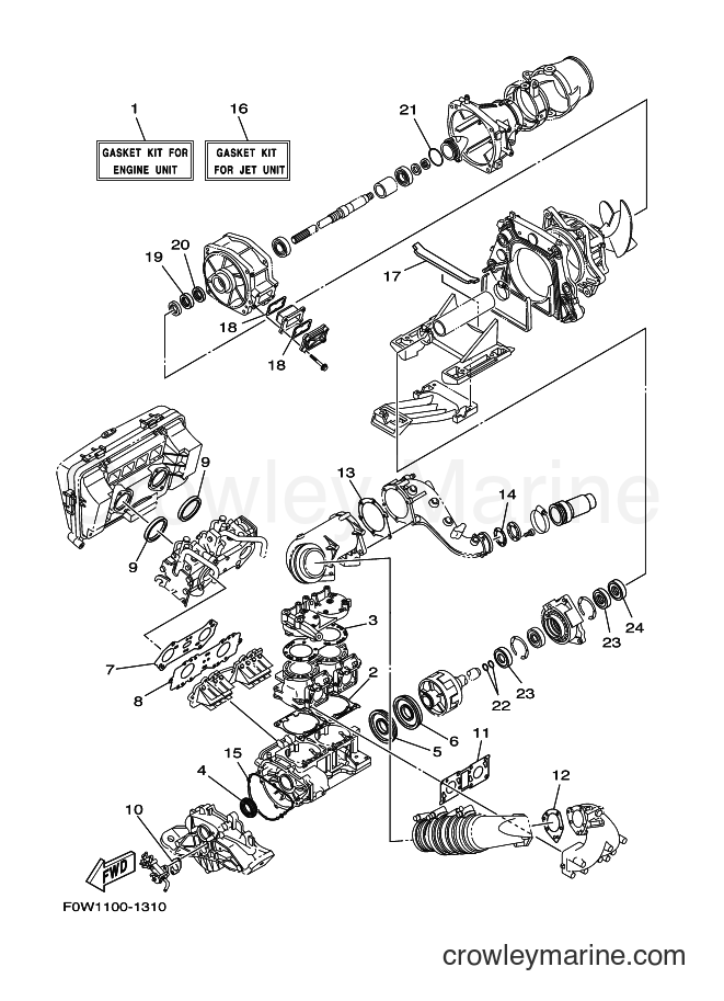 2001 WaveRunner GP800A-Z - GP800A-Z (F0W1) [02A] - REPAIR KIT 1