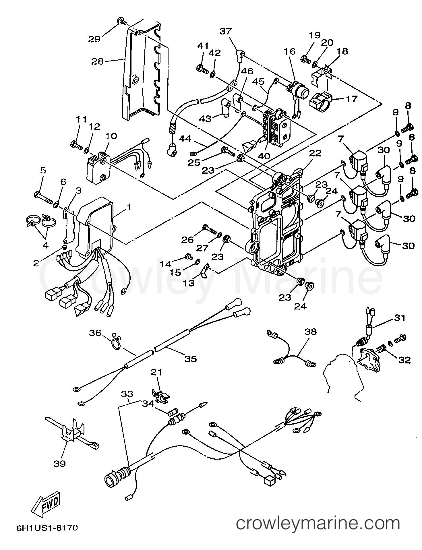 [EQHS_1162]  ELECTRICAL 1 - 1998 Yamaha Outboard 90hp C90TLRW | Crowley Marine | 1998 Yamaha Outboard Wiring Diagram |  | Crowley Marine